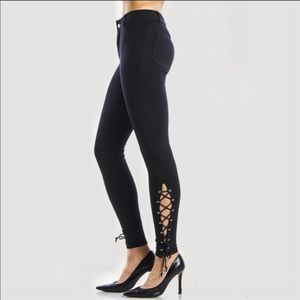 Ponte Black Ankle Pants With Leg Lacing Detail
